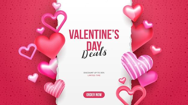 Valentinstagverkaufs-fahnenhintergrund