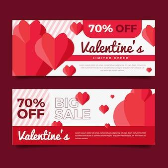 Valentinstagverkaufsfahnen im flachen design
