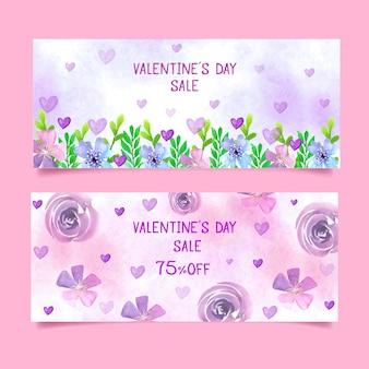 Valentinstagverkaufsfahnen mit blumen