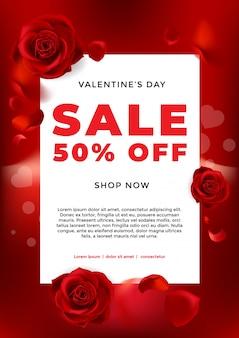 Valentinstagverkaufshintergrund mit blumenrose und -herzen
