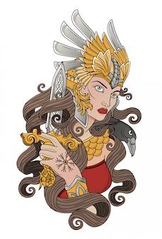 Valkyria wikinger mit einer klinge in der hand