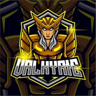 Valkyrie esport logo design template vector illustration