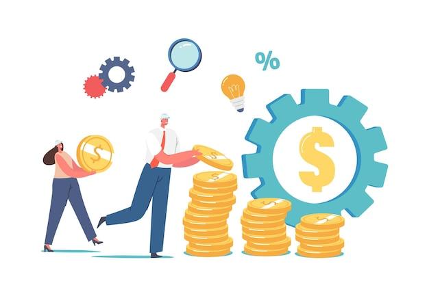 Value-engineering-konzept. winzige ingenieure in helmen sammeln riesige goldmünzen in stapeln, riesige ausrüstung mit dollarzeichen, leute sparen geld, erhöhen das wertkonto. cartoon-vektor-illustration