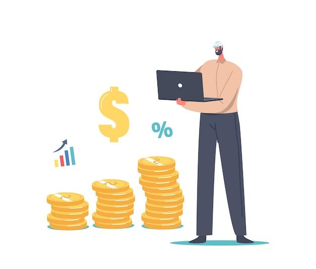 Value-engineering-konzept. winziger ingenieur männlicher charakter in schutzhelm, der an einem laptop in der nähe eines riesigen stapels von goldmünzen arbeitet, wert steigern, geld sparen, risikomanagement, finanzen. cartoon-vektor-illustration