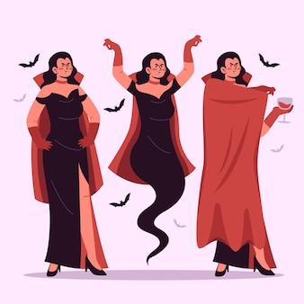 Vampir-charaktersammlung im flachen design