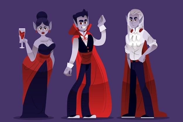 Vampir-charaktersammlung mit flachem design