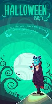 Vampir dracula für halloween-plakat