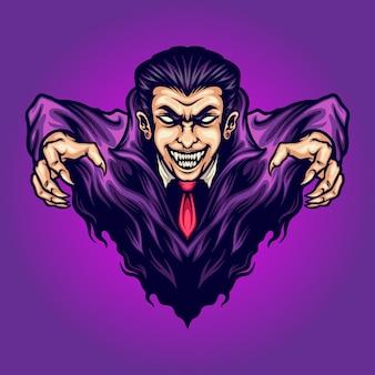 Vampire attack dracula vektorillustrationen für ihre arbeit logo, maskottchen-waren-t-shirt, aufkleber und etikettendesigns, poster, grußkarten, werbeunternehmen oder marken.