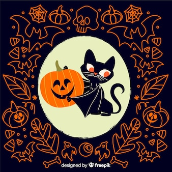 Vampirskatze mit flachem halloween-hintergrund des kürbises