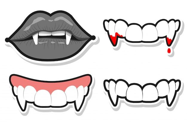 Vampirzähne und lippen für halloween. vektorkarikatursatz isoliert