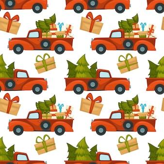 Van auto beladen mit kiefer und geschenken zum feiern von weihnachten und neujahr. weihnachtsgeschenke in schachteln mit schleifen verziert. immergrüne fichte für die dekoration zu hause. vektor im flachen stil