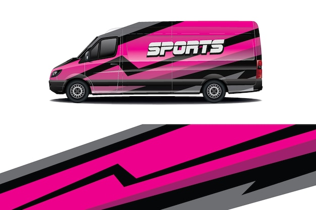 Van car decal wrap design
