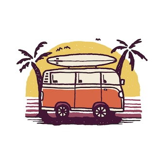 Van nature camping-abenteuer-sommer-strand-grafik-illustration