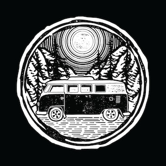 Van nature lines grafischer illustrations-kunst-t-shirt entwurf