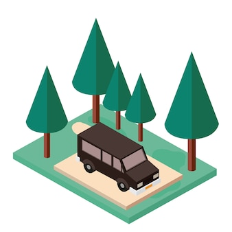 Van parken und bäume szene isometrische symbol