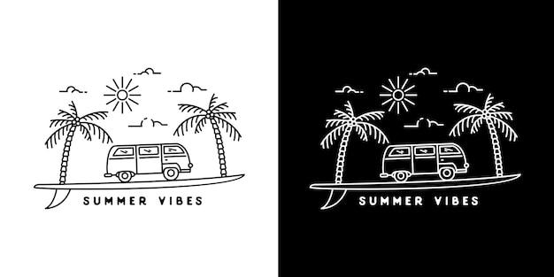 Van surf summer vibes monoline Premium Vektoren