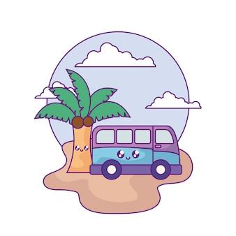 Van vehicle mit palme tropisches kawaii im strand