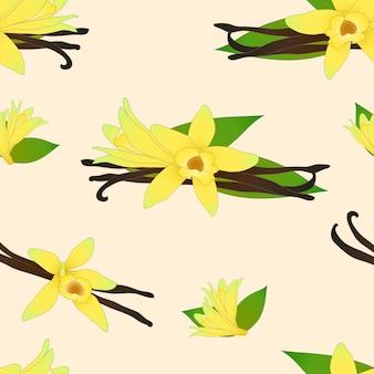 Vanille planifolia-blume auf elfenbein-beige-hintergrund