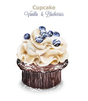Vanille- und blaubeerkuchen