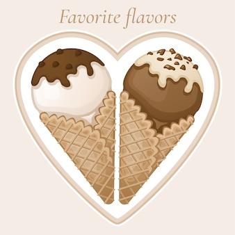 Vanille- und schokoladeneis mit schokoladenüberzug und sahne in einem waffelkegel. süßes leckeres eis mit schokostreuseln. lieblingsaromen text