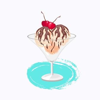 Vanilleeis im cartoon-stil mit schokoladen- und kirschvektorsymbol auf weißem hintergrund mit farbspritzer