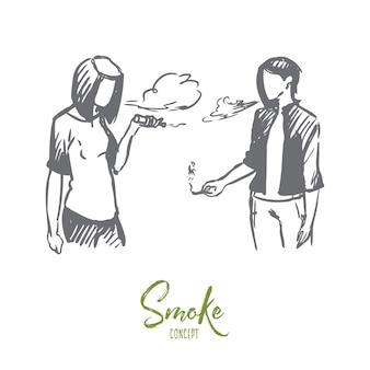 Vape, e-zigarette, mädchen, rauchkonzept. hand gezeichnete teenager-mädchen, die e-zigaretten-bildkonzeptskizze verdampfen.