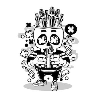 Vape-schädel-karikatur