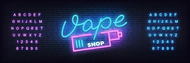 Vape shop neon vorlage. leuchtender schriftzug vape shop