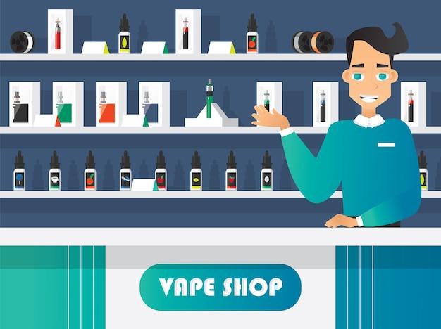 Vape und vaporizer shop flach Kostenlosen Vektoren