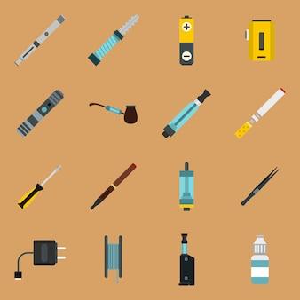 Vaping icons in flachen stil gesetzt