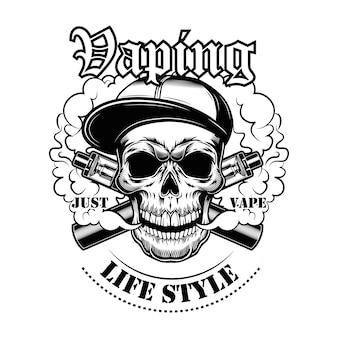Vaping schädel in gangsta cap vektor-illustration. stilvoller charakter im hut mit elektronischen zigaretten und dampf, lebensstiltext