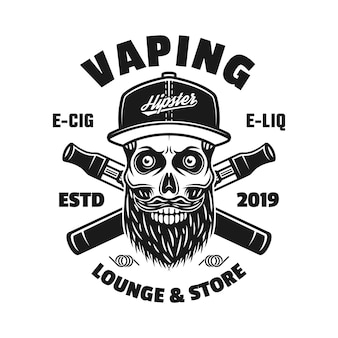 Vaping-vektor-monochrom-emblem, abzeichen, etikett oder logo mit bärtigem schädel in mütze und zwei gekreuzten elektronischen zigaretten isoliert auf weißem hintergrund