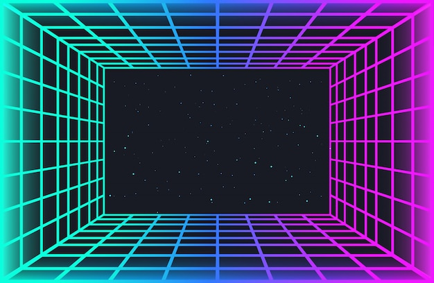 Vaporwave retro futuristischer hintergrund. abstrakter lasergittertunnel in neonfarben mit glüheffekt. nachthimmel mit sternen. hintergrundbild für cyberpunk-party, musikplakat, hackathon-treffen.