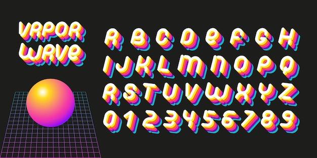 Vaporwave-schrift. briefe der ästhetik der 70er-80er jahre. vektoralphabet im retro-futurismus-stil.