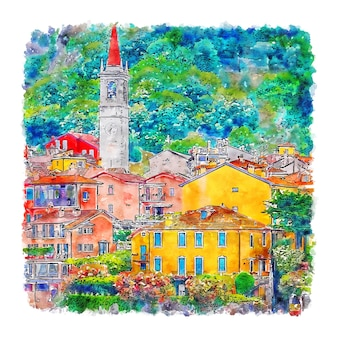 Varenna comer see italien aquarellskizze handgezeichnete illustration