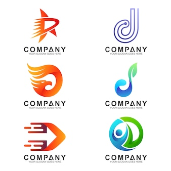 Variation der buchstaben-d-logosammlung