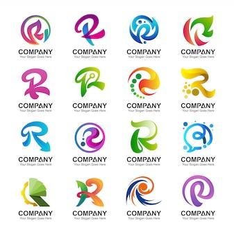 Variation der buchstaben-r-logo-kollektion