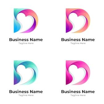 Variation des herz- und buchstaben-d-logo-konzepts