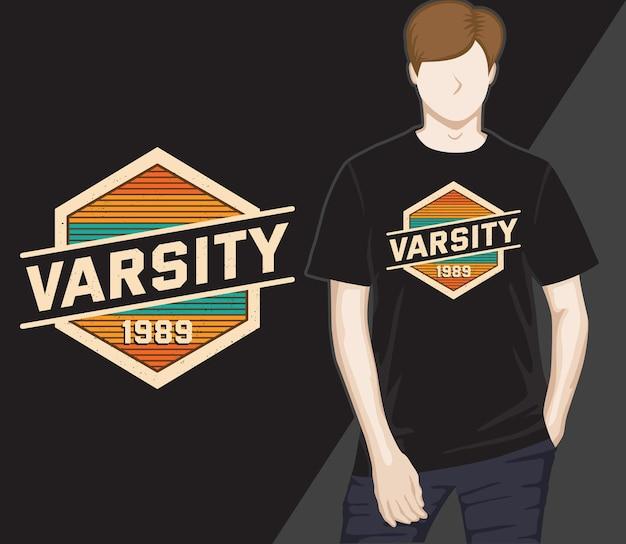 Varsity neunzehnhundertneunundachtzig vintage-typografie-t-shirt-design