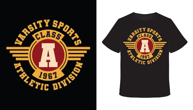 Varsity sport klasse a typografie-t-shirt-design