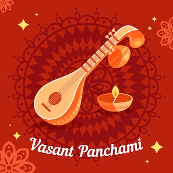 Vasant panchami illustration mit veena instrument