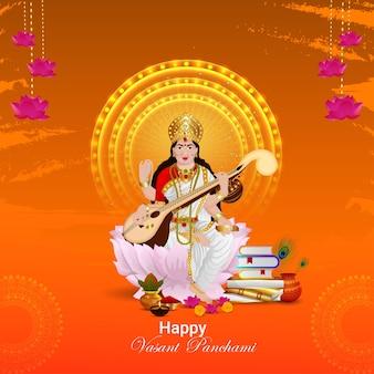 Vasant panchami kreative illustration der göttin saraswati und hintergrund