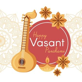 Vasant panchami musikinstrument und herbstblumen