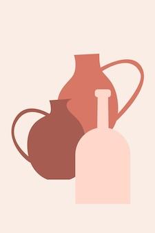 Vase boho minimalistischer musterhintergrund. abstrakte vasensilhouette für souvenirshop-tag-design, wohnkultur-shop-flyer, t-shirt-druck, marktwerbung usw.