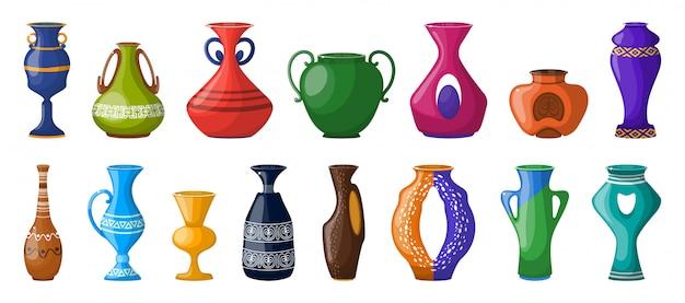 Vase für blumenkarikatur-vektorillustration. gesetzte ikone des tonwarenvases keramischer topf und krug der gesetzten ikone der vektorillustration.
