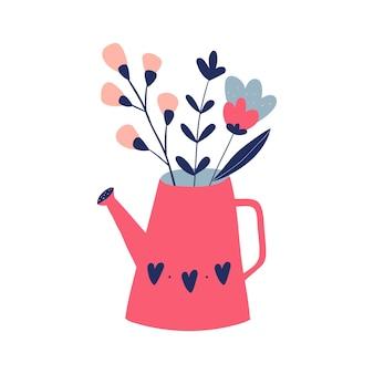 Vase mit blumen doodle blumenillustration postkarte poster dekor