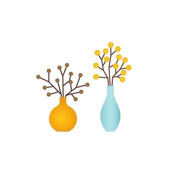Vase mit dekorativen blumen, blumenstraußikone lokalisiert