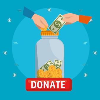 Vase mit geld für eine wohltätigkeitsspende