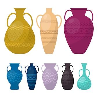 Vase set illustration auf weißem hintergrund