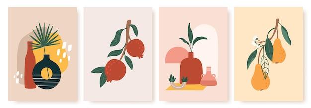 Vase und fruchtdruck. stillleben mit keramik und obstbirnen, granatäpfel auf zweig mit blättern. moderne skandinavische plakate vektor-set. abstrakte minimalistische malerei für karten